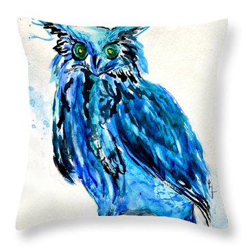 Electric Blue Owl Throw Pillow by Beverley Harper Tinsley