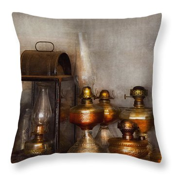 Electrician - A Collection Of Oil Lanterns  Throw Pillow by Mike Savad