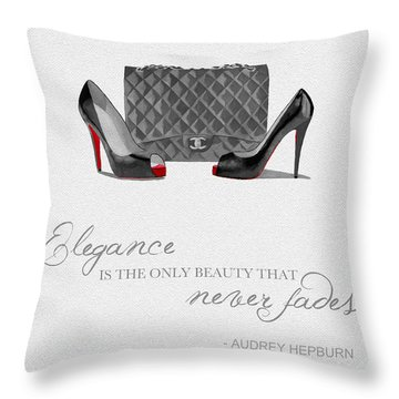Elegance Never Fades Black And White Throw Pillow by Rebecca Jenkins