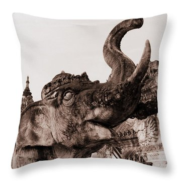 Elephant Architecture Throw Pillow by Ramona Johnston