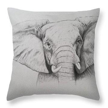 Elephant Throw Pillow by Ele Grafton