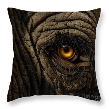 Elephant Eye Throw Pillow by Jurek Zamoyski