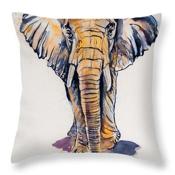 Elephant In Gold Throw Pillow by Kovacs Anna Brigitta