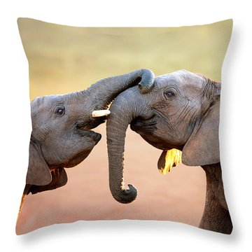 Elephants Touching Each Other Throw Pillow by Johan Swanepoel
