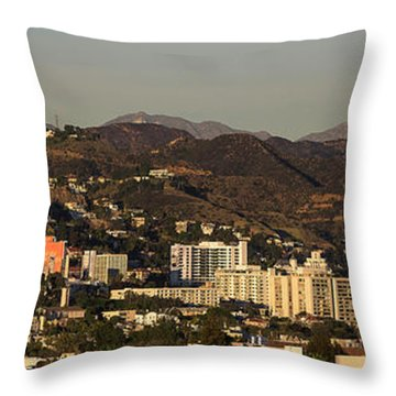 Elevated View Of A City, West Throw Pillow by Panoramic Images