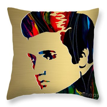 Elivs Gold Series Throw Pillow by Marvin Blaine