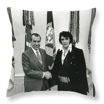 Elvis And Nixon Throw Pillow by Unknown