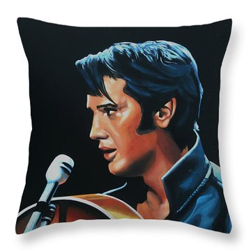 Elvis Presley 3 Painting Throw Pillow by Paul Meijering