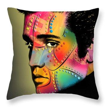 Elvis Presley Throw Pillow by Mark Ashkenazi