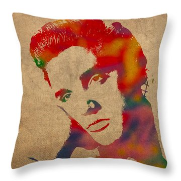 Elvis Presley Watercolor Portrait On Worn Distressed Canvas Throw Pillow by Design Turnpike