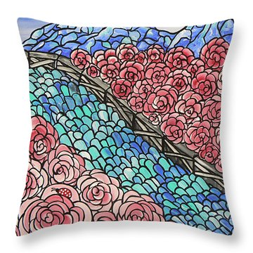 Emerald River Roses Throw Pillow by Barbara St Jean