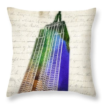 Empire State Building Throw Pillow by Aged Pixel