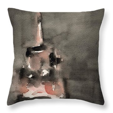 Empire State Building Coral And Black Watercolor Paintings Of Nyc Throw Pillow by Beverly Brown
