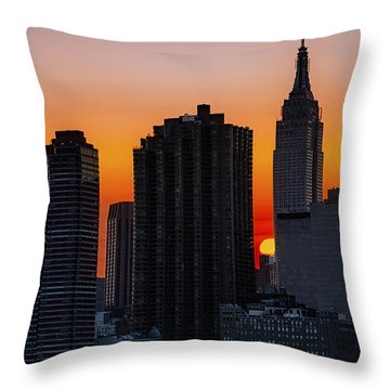 Empire State Building Sunset Throw Pillow by Susan Candelario