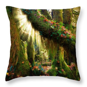 Enchanted Forest Throw Pillow by Inge Johnsson