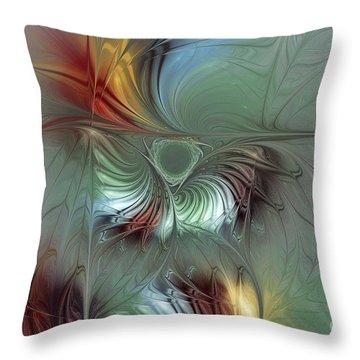 Enchanting Flower Bloom-abstract Fractal Art Throw Pillow by Karin Kuhlmann