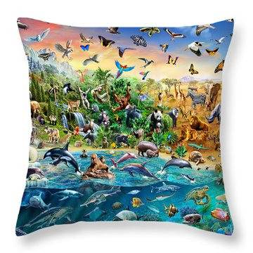 Endangered Species Throw Pillow by Adrian Chesterman