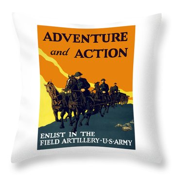 Enlist In The Field Artillery Throw Pillow by War Is Hell Store