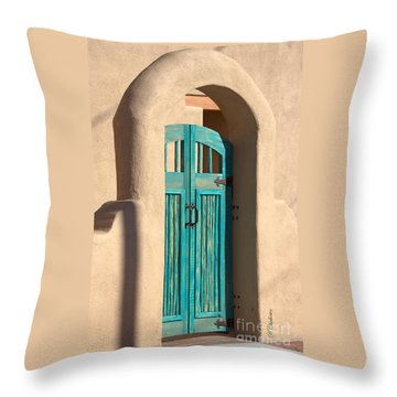 Enter Turquoise Throw Pillow by Barbara Chichester
