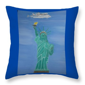 Enterprise On Statue Of Liberty Throw Pillow by Vandna Mehta