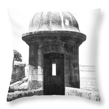 Entrance To Sentry Tower Castillo San Felipe Del Morro Fortress San Juan Puerto Rico Bw Film Grain Throw Pillow by Shawn O'Brien