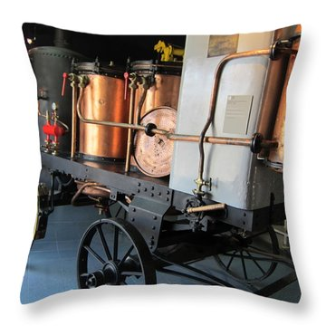 Equipment Displayed In Lavender Museum Throw Pillow by Pema Hou