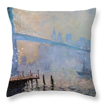 Erbora And The Seagulls Throw Pillow by Ylli Haruni