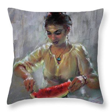Erbora With Watermelon Throw Pillow by Ylli Haruni