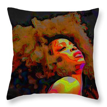 Erykah Badu Throw Pillow by  Fli Art