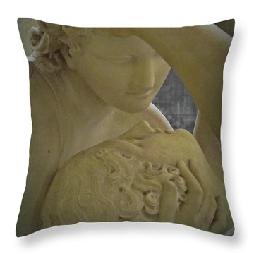 Eternal Love - Psyche Revived By Cupid's Kiss - Louvre - Paris Throw Pillow by Marianna Mills