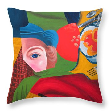 Eve Faces Life Right Throw Pillow by Randall Weidner
