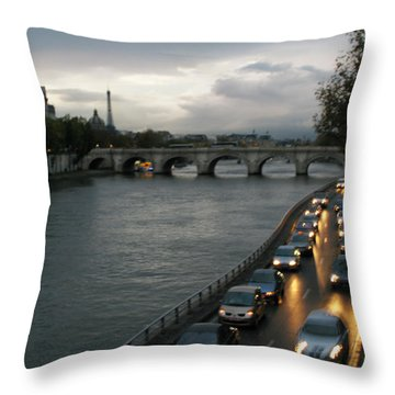 Evening On Pont Au Change  Throw Pillow by Joe Schofield