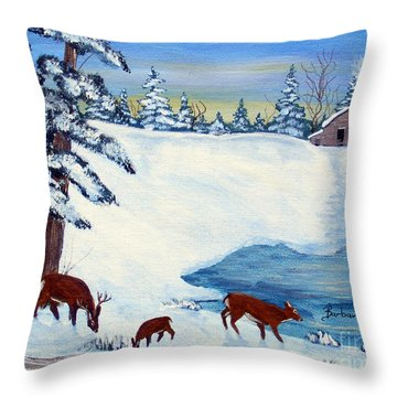 Evening Visitors Throw Pillow by Barbara Griffin