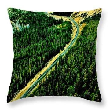 Evergreen Highway Throw Pillow by Benjamin Yeager