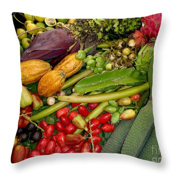 Exotic Fruits Throw Pillow by Carey Chen