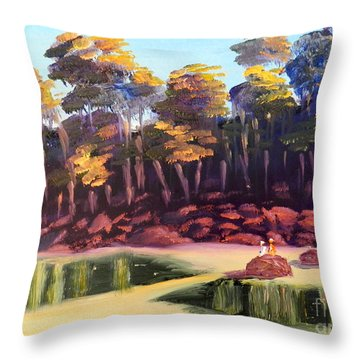 Exploring On Echo Beach Throw Pillow by Pamela  Meredith