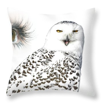 Eye Of Purity And The Mysterious Snowy Owl  Throw Pillow by Inspired Nature Photography Fine Art Photography