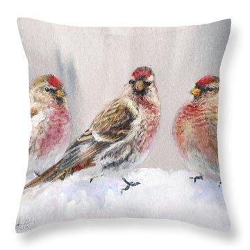 Snowy Birds - Eyeing The Feeder 2 Alaskan Redpolls In Winter Scene Throw Pillow by Karen Whitworth