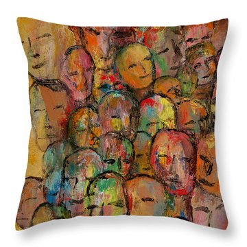 Faces In The Crowd Throw Pillow by Larry Martin