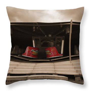 Fairground Waltzer In Sepia Throw Pillow by Terri Waters