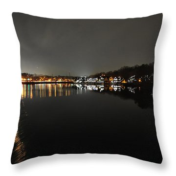 Fairmount Dam And Boathouse Row In The Evening Throw Pillow by Bill Cannon