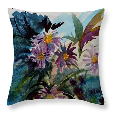 Fairyland Asters Throw Pillow by Beverley Harper Tinsley