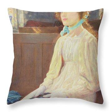 Faith Throw Pillow by Arthur Hughes