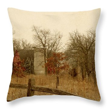 Fall Barn Throw Pillow by Margie Hurwich