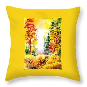 Fall Forest Throw Pillow by Irina Sztukowski