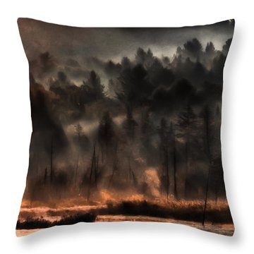 Fall Morning Fog Throw Pillow by Jeff Folger