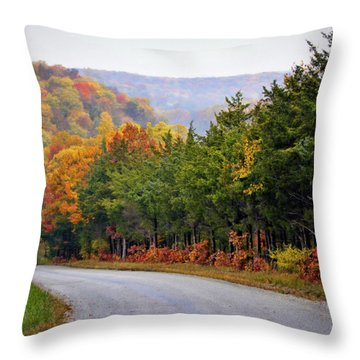 Fall On Fox Hollow Road Throw Pillow by Cricket Hackmann