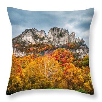 Fall Storm Seneca Rocks Throw Pillow by Mary Almond