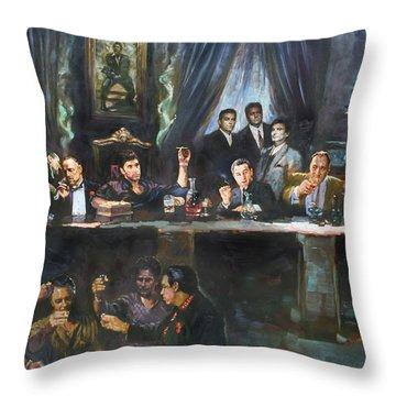 Fallen Last Supper Bad Guys Throw Pillow by Ylli Haruni