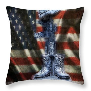 Fallen Soldiers Memorial Throw Pillow by Peggy  Franz